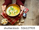 woman hands holding bowl of... | Shutterstock . vector #526127935