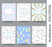 baby shower cards. set   vector ... | Shutterstock .eps vector #526129426