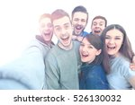 group of happy young teenager... | Shutterstock . vector #526130032