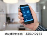 man hand holding phone with... | Shutterstock . vector #526140196