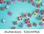 happy birthday and gift box on... | Shutterstock . vector #526144966