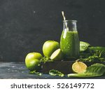 green smoothie with apple ... | Shutterstock . vector #526149772
