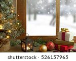 christmas window with gifts  | Shutterstock . vector #526157965