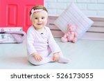 cute little girl wearing pink... | Shutterstock . vector #526173055
