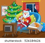 santa claus is sitting in front ... | Shutterstock .eps vector #526184626
