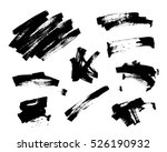 set of black paint  ink brush... | Shutterstock .eps vector #526190932