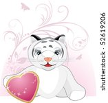 little tiger with heart and... | Shutterstock .eps vector #52619206