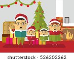 christmas with family vector... | Shutterstock .eps vector #526202362