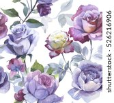 wildflower rose flower pattern... | Shutterstock . vector #526216906