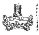 bottle of fresh beer with water ... | Shutterstock .eps vector #526222216
