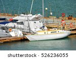 white motor yacht over harbor... | Shutterstock . vector #526236055