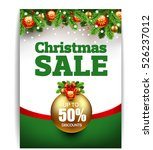 christmas sale banner with... | Shutterstock .eps vector #526237012