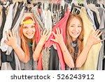 beautiful young women at cloth... | Shutterstock . vector #526243912