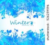 watercolor winter leaves... | Shutterstock .eps vector #526259596