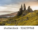 The Old Man of Storr and other rock pinnacles below The Storr, This is properly the most famous walk on the Island , Isle of Skye, Scotland
