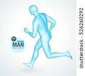 3d running man  blue colored.... | Shutterstock .eps vector #526260292