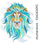 patterned head of the lion on... | Shutterstock .eps vector #526262092