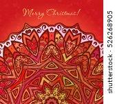 Colored Half Mandala On Red...