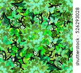 green mandalas floral...   Shutterstock . vector #526293028