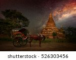 the old pagoda in bagan on the... | Shutterstock . vector #526303456