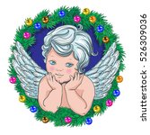little angel christmas wreath... | Shutterstock .eps vector #526309036