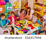 large group of children with... | Shutterstock . vector #526317046