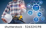 engineer hand working with... | Shutterstock . vector #526324198