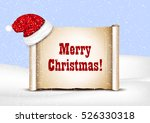 blank paper with santa hat on a ... | Shutterstock .eps vector #526330318