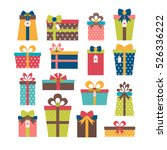 set of different gift boxes.... | Shutterstock .eps vector #526336222