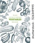 vegetables top view frame.... | Shutterstock .eps vector #526349995