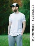 hipster wearing white blank t... | Shutterstock . vector #526353136