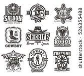 set of vector wild west logos ...   Shutterstock .eps vector #526355488
