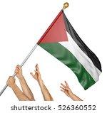 team of peoples hands raising... | Shutterstock . vector #526360552