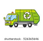 green garbage recycling truck... | Shutterstock .eps vector #526365646