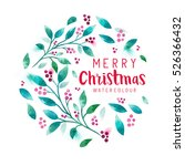 christmas floral wreath.... | Shutterstock .eps vector #526366432