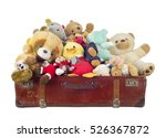 toys in old suitcase  isolated... | Shutterstock . vector #526367872