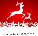 two reindeer jump to each other ... | Shutterstock .eps vector #526371016