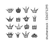 set of vector hand drawn crowns ... | Shutterstock .eps vector #526371295
