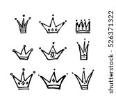 Set Of Vector Hand Drawn Crown...