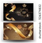 Vip Gold Banners With Sparklin...