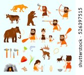 Stone Age Flat Icons Set With...