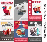 set of cinema posters with... | Shutterstock .eps vector #526397545