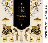 indian wedding card  elephant... | Shutterstock .eps vector #526403152