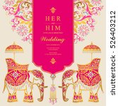 Indian wedding card, Elephant patterned gold and crystals color. | Shutterstock vector #526403212