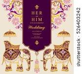 indian wedding card  elephant... | Shutterstock .eps vector #526403242