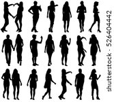 black silhouettes of beautiful... | Shutterstock . vector #526404442