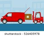 cartoon van with cargo. flat... | Shutterstock .eps vector #526405978