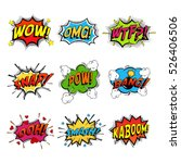Set of comic speech bubble speech. Bomb with bang and pow cloud, wow and wtf communication symbol, snap and kaboom, ooh and oh. Shouting, humour speech expression, exploding splash box, onomatopoeia | Shutterstock vector #526406506