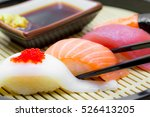 sushi with chopsticks black ... | Shutterstock . vector #526413205
