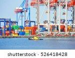 tugboat and crane in harbor...   Shutterstock . vector #526418428